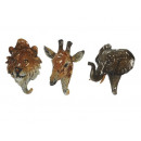 wholesale Small Furniture: Clothes hook Wild animals made of poly, 16 cm