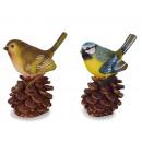 Bird on pine cones made of poly 5.5x3x7.5cm