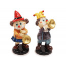 Clown with wind instrument made of poly 5.5x5.5x14
