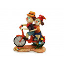 Clown couple on bike made of poly 16x5x18cm