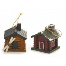 Mountain hut with wooden ski, 8x8x8cm