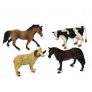 Großhandel Spielzeug: Farmtiere - Pferde, Schaf und Kuh, 16 cm , aus Kun