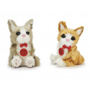 Decoration cat with artificial fur, 11cm