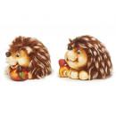 Hedgehog made of ceramic with fur, 5 cm