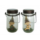 Pine cones Wichtel made of poly in a glass, 25 cm