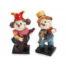 Clown with guitar and violin made of poly 7x5.5x17