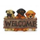 Hunde aus Poly mit 'Welcome' Schild, 24 cm