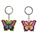 Butterfly from PVC on key pendant, 7 cm