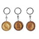 Großhandel Geschenkartikel & Papeterie: Schlüsselanhänger Eule aus Holz, rund, 4 cm