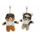 Pilot bear and mouse made of plush, 10 cm