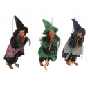 Witch made of poly flying 7x5x18cm