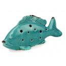Großhandel Fanartikel & Souvenirs: Fisch aus Porzellan, türkis, 21 cm