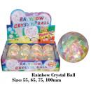 Großhandel Spielwaren: Glitzerflummi 100 mm RAINBOW mit Licht - im Displa