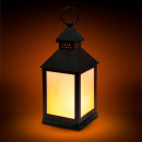 Battery powered LED lamp with flame effect black