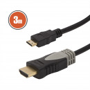 Mini HDMI cable • 3 m gold plated connector