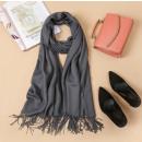 wholesale Scarves & Shawls: Fringed shawl, graphite wrap SZA40GRAF