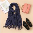 wholesale Scarves & Shawls: Shawl with tassels, navy blue scarf SZA40GRAN