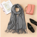 wholesale Fashion & Apparel: Scarf with fringes, gray scarf SZA40SZ