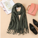 wholesale Scarves & Shawls: Scarf with fringes, green scarf SZA40ZIE