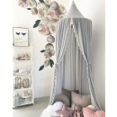Canopy for cot lace, large, dense, gray