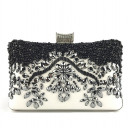 Black and white evening purse with crystals