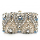 Evening purse, beige with crystals