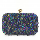 Blue evening bag with crystals