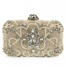 Evening and beige formal bag with pearls and