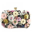 wholesale Bags & Travel accessories: Black evening bag with flowers, pu