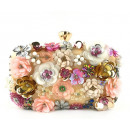 wholesale Bags & Travel accessories: White evening bag with flowers, puz