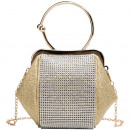 Gold formal evening purse with crystals