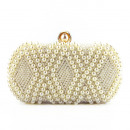 Evening bag, white, with pearls, pu
