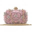 Großhandel Handtaschen: Abendtasche, rosa mit Kristallen