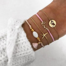SET 4in1 BRACELETS Golden BOHO B449