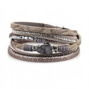 Bracelet interspersed with CAVI gray B463SZ