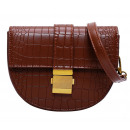 Handbag with eco-leather brown T209BR