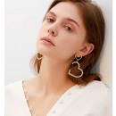 Dangling earrings Gold hearts K1464Z