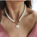 ARTIFICIAL PEARL NECKLACE with a coin N717