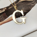 Surgical steel necklace, plated letter PLN