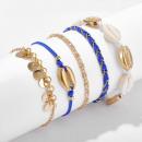 hurtownia Bizuteria & zegarki: Bransoletka na stopę 5w1 złota koraliki shell B498