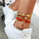 5in1 gold bracelet with red beads B500