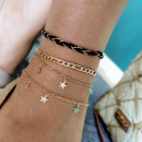 Bracelet on the foot 4in1 gold beads B497