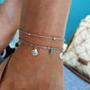 2in1 silver foot bracelet B526