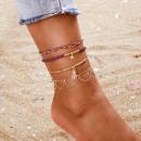 ingrosso Gioielli & Orologi: Braccialetto sul piede perline d'oro 4in1 B516