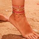 ingrosso Gioielli & Orologi: Bracciale sul piede 5in1 perline d'oro B521