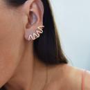 Ear earrings in surgical steel with golden zircons
