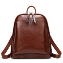 Backpack, waxed leather, elegant model - brown PL1