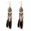 Boucles d'oreilles plume boho noir K1088CZ