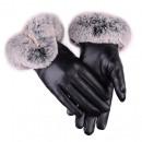 Großhandel Handschuhe: Handschuhe GLAM ARTIFIC PELS SCHWARZ REK 116