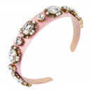 wholesale Drugstore & Beauty: Headband decorated with pink glass crystals O341R